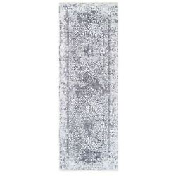 4and0391x12and0391 Grey Wool And Pure Silk Broken Farsian Design Hand Knotted Rug R62367