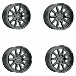 Set 4 20x9.5 Black Rhino Cinco Matte Black 6x5.5 Truck Wheels -18mm Rims W/ Lugs