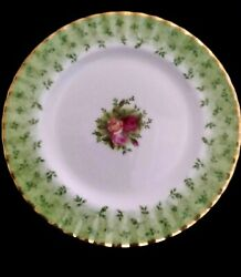 Royal Albert Old Country Roses England Green Accent Salad Plate 8d