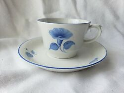 Vintage Cup And Saucer Blue White Leaves Arabia Finland Retro Collectible 5
