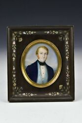 19th Century Miniature Portrait Painting Signed Sacro Fratelli Gutta Percha