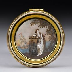 English Reverse Painted And Watercolor Mourning Locket Case 18th -early 19th Cent