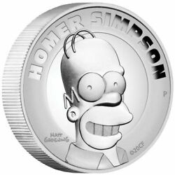 Tuvalu 2021 And039homer Simpsonand039 2 Oz Silverproof High Relief 99.99 Pure Silver Coin