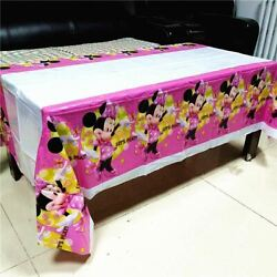 1 Pc Kids Girls Minnie Mouse Tablecloth Birthday Disposable Decoration Table Cov