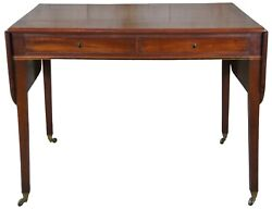 Antique 19th C. Mahogany Sheraton Federal Dropleaf Side Table Library Desk 38