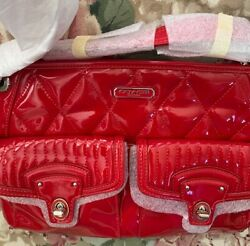Patent Red Coach 18678 Poppy High Gloss Liquid Quilted Turnlock Pockets NEW $198.00