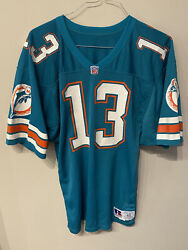 Vintage Dan Marino 13 Miami Dolphins Russell Authentic Jersey Size 40 Green Nfl