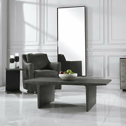 51 L Asher Coffee Table Silver Gunmetal Finished Industrial Steel Modern