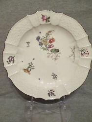 Meissen Porcelainandnbspwoodcut Floral Dinner Plate 1740and039s 2
