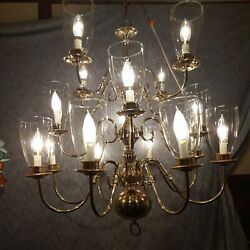 Classic Design 3 Tier Williamsburg 16 Candle Globes Polished Brass 29chandelier