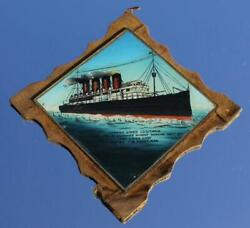 Cunard Line Rms Lusitania Glass Hand Painted Mother Of Pearl Memorandum Plaque