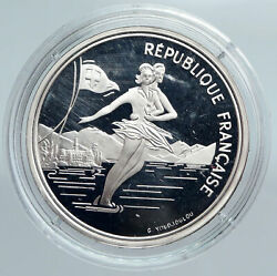 1989 France Figure Skating 1992 Olympics Old Proof Silver 100 Francs Coin I89937
