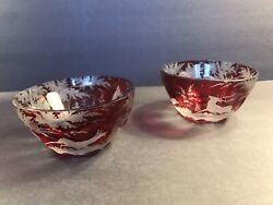 A Pair Of Antique Ruby Red Bohemian Glass Bowl/stag/forest/ C.1880/ Cut To Clear