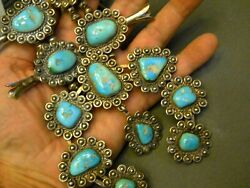 Huge Native American Turquoise Sterling Silver Squash Blossom Naja Bead Necklace