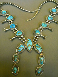 Native American Morenci Turquoise Sterling Silver Squash Blossom Bead Necklace