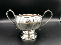 Vintage Beautiful Reproduction Old Sheffield Plate England Sugar Bowl 4 1/2 T