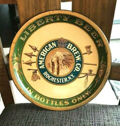 Vintage Pre-pro Liberty Beer American Brewing Metal Tray Rochester Ny Indian