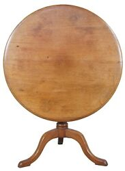 Antique Queen Anne English Mahogany Round Tilt Top Pedestal Accent Tea Table 35