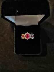 Rudy And Diamond Ring 14k Gold Band 4.80 Grams Large Center Ruby W/ Diamond Halo
