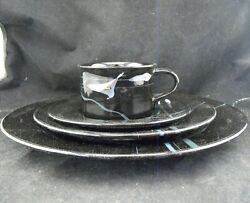 Mikasa Galleria Fk701 Opus Black 4 Piece Place Setting Dinner Salad Place Cup
