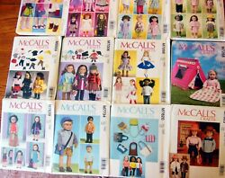 Lot Of 12 Mccalland039s 18 Doll Clothes And Accessories Sewing Patterns - New Uncut