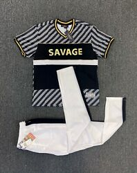 New 2-piece Mens Savage Track Set Gold Embossed T-shirt And Pants 9 Left