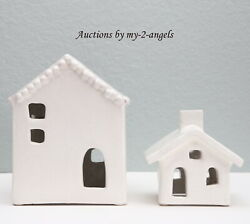 S/2 New Pottery Barn Handmade Ceramic Christmas Village Houses Set Large And Small