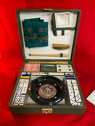 Vintage Portable Casino Briefcase, Roulette, Dominoes, Cards, Dice, Chips