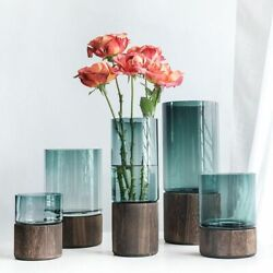 Event Party And Home Decorations Flower Vase Solid Wood Base And Glass Materials