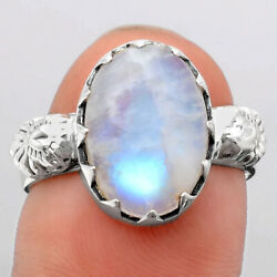 Natural Rainbow Moonstone - India 925 Sterling Silver Ring S.7.5 Jewelry 3636