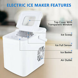 White Portable Ice Maker Machine Countertop 26lbs/24h Self-cleaning W/ Scoop