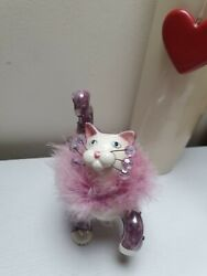 Vintage Amy Lacombe Beautiful Cat Figurine Ornament Porcelain Pink Fluff Crystal