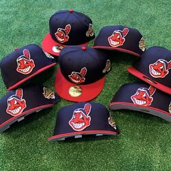 Cleveland Indians Chief Wahoo 1995 World Series Club Gold Patch Fitted Hat New