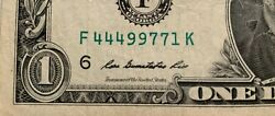 1 Dollar Bill 2009 Circulated Fancy Serial Number Double Triple F 444 99 77 1 K
