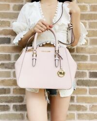 Michael Kors Charlotte Large Satchel Powder Blush Pink Leather Handbag Crossbody $109.99