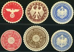 Germany Wwii Reich Letter Seal Kaiserlich Japan Consulate Label Collection