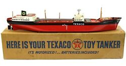 Vintage 1960and039s Texaco Gas North Dakota Oil Tanker Ship Battery Op W/box And Works