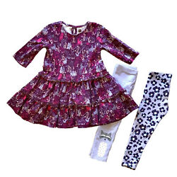 Tea Collection Girl's 3t 3-piece Set Tiered Purple Animal Dress And 2 Pants