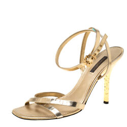 Louis Vuitton Metallic Gold Leather Classic Strappy Sandals Size 37