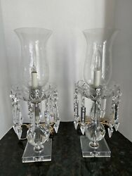 Pair Vintage Glass/crystal Table Mantle Lamps With Prisms Hurricane