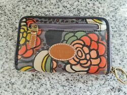 Fossil Leather Zip Coin Wallet Change Purse with ID and Key Chain Canvas Coated $13.99