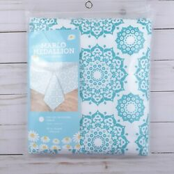 Vinyl Tablecloth Medallions Teal White 60 Inch Round