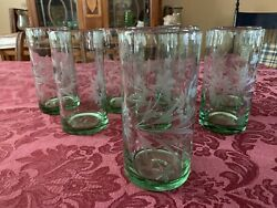8 Beautiful Bobby Flay Etched Highball Glasses. New