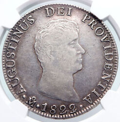 1822 Mj Mo Mexico Spain Emperor Agustin I Old Silver 8 Reales Coin Ngc I89733