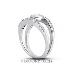 0.93ct D-vs2 Round Cut Natural Certified Diamonds 950 Plat. Halo Side Stone Ring