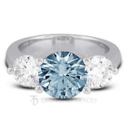1.91ct Blue Si1 Round Natural Certified Diamonds 18k Classic Engagement Ring