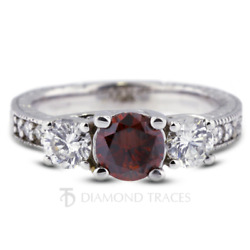 1.81ct Red Si1 Round Natural Certified Diamonds 14k Gold Classic Engagement Ring