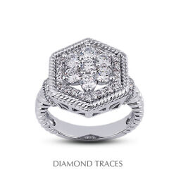 1 Ctw F Vs2 Round Cut Natural Certified Diamonds 18k Gold Halo Right Hand Ring