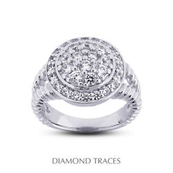 3/4 Ct F Vs2 Round Cut Natural Certified Diamonds 950 Plat. Halo Right Hand Ring