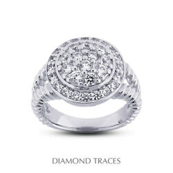 1 Ctw F Vs1 Round Cut Natural Certified Diamonds 18k Gold Halo Right Hand Ring